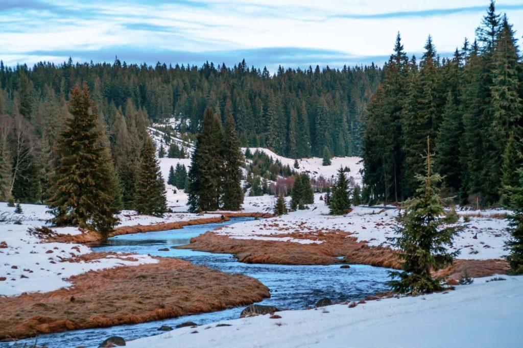 Roklanský potok Modrava zima