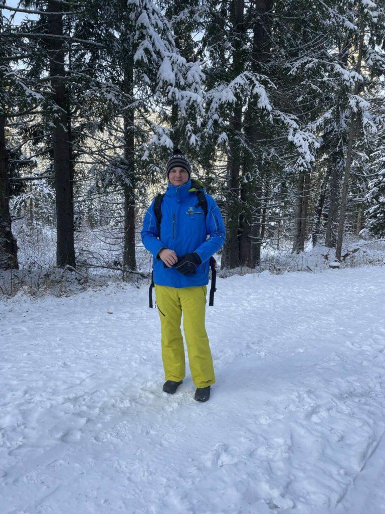 Petr Krauz ve sněhu