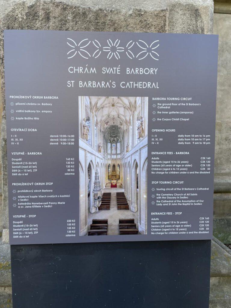 Chrám sv. Barbory vstupné